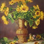 Sunflowers in Wicker Vase